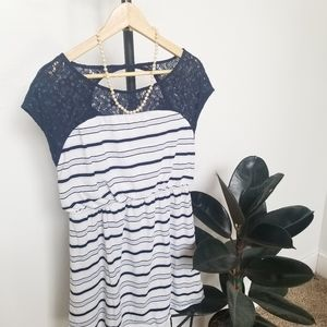 Skies Are Blue Striped Lace Top Keyhole Dress